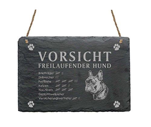 Schiefertafel « FRENCH BULLDOG - VORSICHT FREILAUFENDER HUND » Schild mit Hunde Motiv - Größe ca.22 x 16 cm - Türschild Garten Terrasse Haustür Tür Tor Eingang - Französische Bulldogge