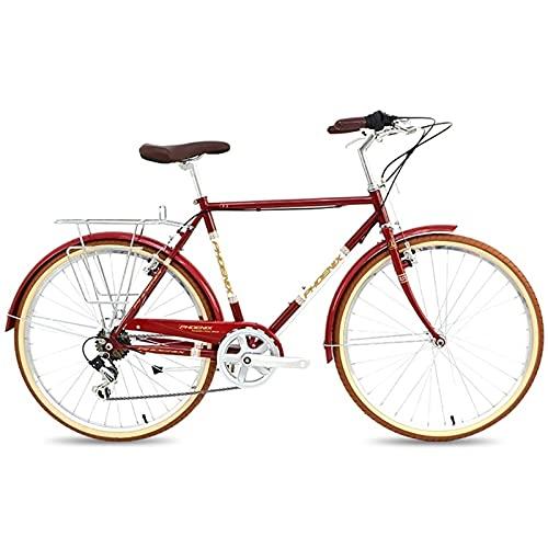 QIU Single Speed 700C 24 / 26Inch Commuter City Road Bike |21 Pulgadas Marco Urbano Engranaje Fijo Bicicleta Retro Vintage Adulto Damas Hombres Unisex (Color : Red, Size : 26')
