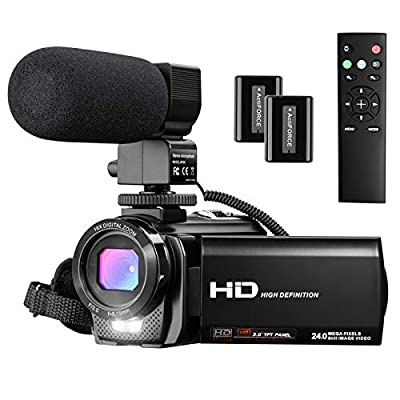 Video Camera Camcorder, Full HD 1080P Digital Camera, YouTube Vlogging Camera 24MP 3.0 Inch Sccreen 16X Digital Zoom, Video Camera Recorde with Wide Angle Lens, WiFi Function, 32GB SD Card, 2 Battery by Aasonida