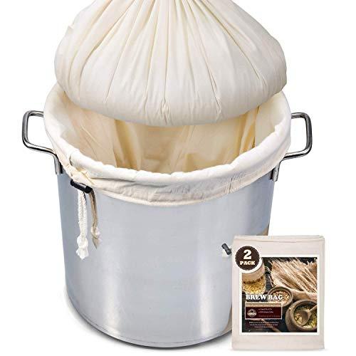 Braubeutel, 66 x 55,9 cm, 2 Stück, 100 % ungebleichte Baumwolle, Beutel für selbstgebraute Brauen, feines Seihtuch für Obst/Cider/Wein/Bier, wiederverwendbarer Kordelzug zum Abseihen in einer Tasche