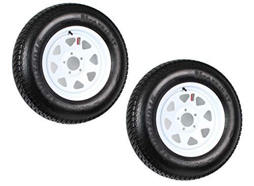 2-Pack Trailer Tires On White Rims ST205/75D15 Load C 5 Lug On 5 15 x 5 Wheel
