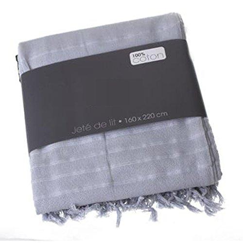 PEGANE Couvre-lit, Jeté de lit en Coton Coloris Gris Clair, 160 x 220 cm