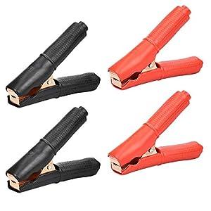 KBNIAN 4 PCS Clip de batería de automóvil Pinza de cocodrilo conexión Batería del coche Cable puente de arranque para…