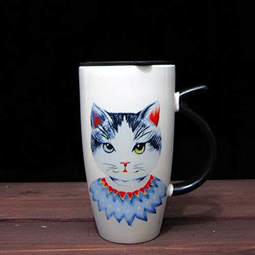 Taza Mug Regalo Cute Cat Style Tazas De Cerámica Con Tapa Y Cuchara Dibujos Animados Creative Moring Mug Milk Coffee Tea Tazas De Porcelana Únicas Envío Gratis, Ver Tabla