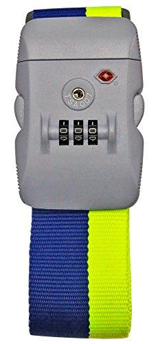 【TSAロック装備】Neon-Light ワンタッチ式 スーツケースベルト (ライム×ネイビー)