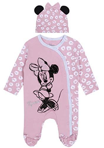 Barboteuse Rose Clair + Chapeau Minnie Mouse 6-9 Mois