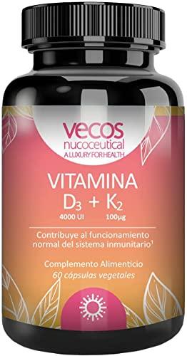 Vitamina D3 (4000 UI) + Vitamina K2 MK7 (100 microgramos) que contribuye al Sistema Inmunitario, Huesos y Músculo y a la absorción de calcio y fósforo - 60 cápsulas vegetales