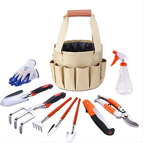 donglao Gartenwerkzeug-Kit, Canvas-Taschenkombinationsset, Aluminiumschaufel-Gartenschere, Eimertuch, 10er-Set