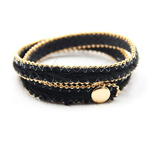 NA Armband SchmuckMode Punk Leopardenmuster Armbänder Für Frauen Gold Farbe Perlen Kette Leder Wickel Armband Femme Schmuck Pulsira Feminina 2