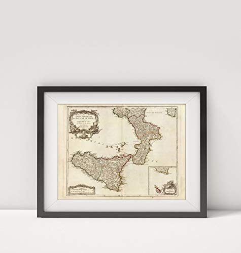 1750 Map of Italy|Roy. de Naples sud, Malte|Sicily (Italy)|Title: Partie Meridionale du Royaume de N