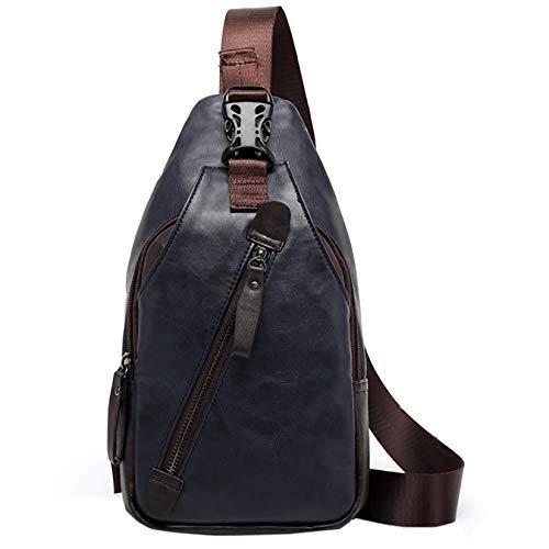 Herren Umhängetasche Crossbody Bag Brusttasche Chest Pack Sling Bag Messenger Bag PU-Kunstleder Urban Bag Style (Blau)