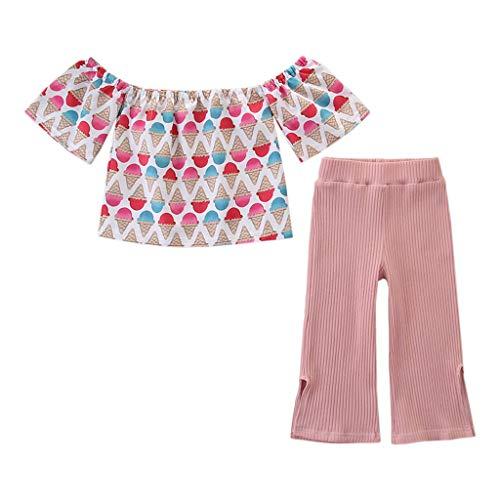 Moneycom❤Toddler - Conjunto de Ropa para bebé con Estampado de Crema Helada y Pantalones, Ideal para cumpleaños, Tul Chic, Ceremonia, Boda, Rosa Rosa 2-3 Años