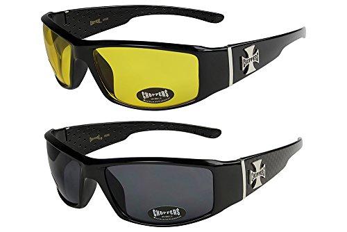 X-CRUZE Choppers - Pack de 2 gafas de sol hombre mujer moto bici lentes - 1x Modelo 12 (negro brillante/amarillo tintado) y 1x Modelo 02 (negro brillante de cuadros/negro tintado) - Modelo 12 + 02 -