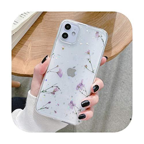 Moda Glitter reale secco pressato fiore cassa del telefono per iphone 11 pro XS MAX x SE XR 6 7 8 plus trasparente silicone posteriore cover stile 14-Per iphone X XS