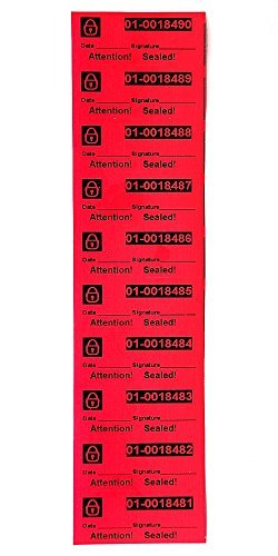 100 High Security Tamper Evident Stickers Warranty Void Labels with Unique Serial Numbering On Every Tamper Evident Stickers No Sticky Residue Behind Color Red Pack Size 9.8 x 27.5Inch