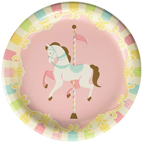 Creative Converting Carousel Paper Dessert Plates Party Supplies, 7, Multicolor