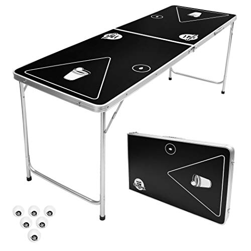 GoPong 6-Foot Portable Folding Beer Pong / Flip Cup Table (6 balls...