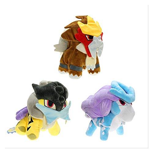 ZJSXIA 3pcs Pokemon Plush Stuffed Animal Toy Q Version Three Sacred Entei Suicune Raikou Plush Doll for Children Gift 12 Inch Plush Toys