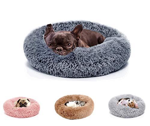 Umitvaz Cama Perro Gato Cama Mascota Redonda, cálida y Suave Cama calmante, Invierno Felpa Sofa de Cachorro Animales, con Fondo Antideslizante, Cómoda y Lavable, (M:50cm)