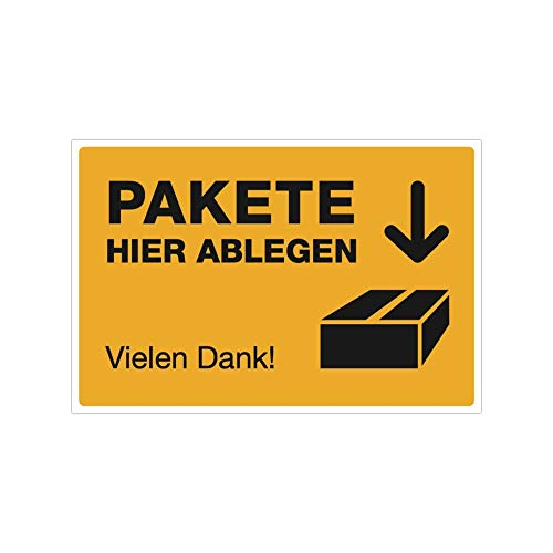 stempel-fabrik (Signalgelb, Aufkleber 300x200 mm) Text: Paket Hier ablegen Vielen Dank/Piktogramm - Paketablage - Versand - Abstellgenehmigung - Ablageort - Garage - Tür