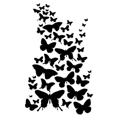 Krevo Art Schablone, Malschablone für Textilgestaltung, Malvorlage, Schablonenpapier Selbstklebend und wiederverwendbar, DIN A4 (Schmetterlinge)