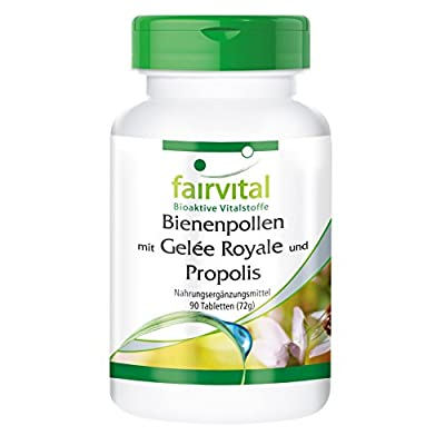 Bee Pollen with Royal Jelly and Propolis - HIGH Dosage - 90 Tablets