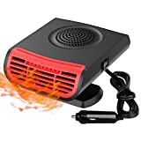 Car Heater,12V 150W 2 in 1 Fast Heating Fan Portable Defogger Defroster Auto Heaters Windshield De-Icers Adjustable Thermostat Plug in Cig Lighter 360 Degree Rotary Base Black