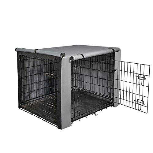"yotache Dog Crate Cover for 30"" Medium Double Door Wire Dog Cage, Lightweight 600D Polyester Indoor/Outdoor Durable Waterproof & Windproof Pet Kennel Covers, Gray Covers Kennel"