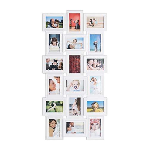 Relaxdays Bilderrahmen Collagen, 18 Bilder, 10x15, Hoch-& Querformat, antik, Wand Fotocollage HxB 104 x 54 cm, weiß, Kunststoff, 104 x 54 x 2,5 cm