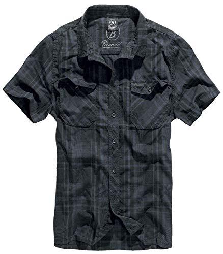 Brandit Herren Roadstar Shirt Hemd, Schwarz/Blau, XXL