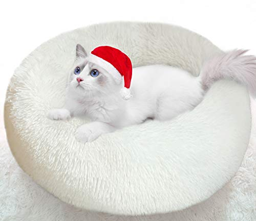 Cat Beds for Indoor Cats, 50cm Cat Bed Round Donut Cuddler Dog Bed for Small Dog Fluffy Pet Sofa Cushion for Snuggle Puppy Washable Self-Warming Soft Plush Marshmallow Kitty Puppy Cat Bed White