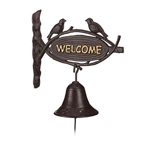 Relaxdays Türglocke Gusseisen WELCOME, Antik-Stil, goldene Buchstaben, Schild mit Vögeln, Haustür & Garten, dunkelbraun