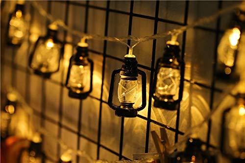Led String Lights,10 LED Kerosene Bottle Lamp String,Vintage Kerosene String Lights for Patio Garden Home Holiday Decoration, Warm White Light(Black,2m,10lights)