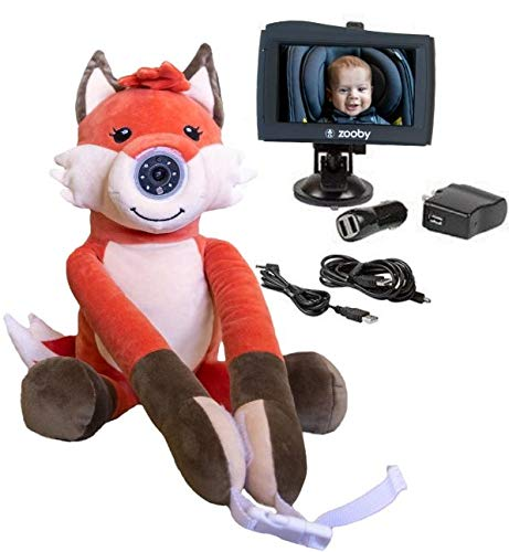 """zooby kin Quick Glance Wireless Video Baby Monitor for Car, Home, Anywhere! Truly Portable Plush Animal Camera with 4.3"""" Hi-Definition Monitor Keeps Baby Always in View for Peace of Mind, Fox"""