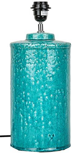 Better & Best 2662609 Lámpara de sobremesa en forma de cilindro en rústico craquelado azul turquesa