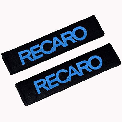 JYJIAJU 2pcs Car Styling cinturón de Seguridad de Hombro de la Correa de cojín de Carreras for los Asientos de Carreras Recaro Cubierta Accesorios for el Coche (Color Name : For RECARO Blue)