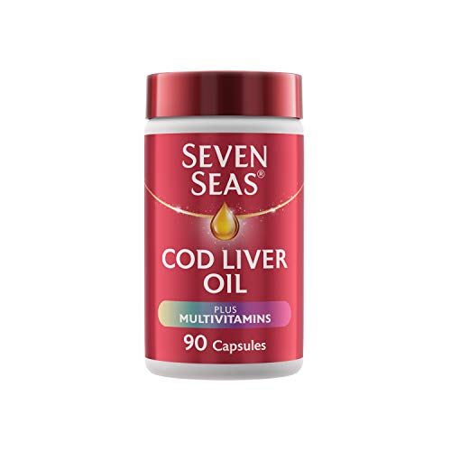 Cod Liver Oil Plus Multivitamins by Seven Seas, Omega-3 Supplement Supporting Brain, Heart, Vision, Plus B Vitamins for Energy and vitamins D & C, 90 Capsules