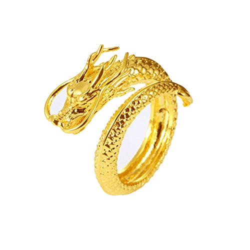 JczR.Y Vintage Dragon Open Ring for Men Punk Domineering Index Finger Dragon Rings Boys Student Fashion Jewelry(Gold)
