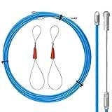 EMAGEREN Guía Pasacables 12.7m Pasa Cables para Electricista con 2 Arneses de Cables Guia para Pasar Cables Guia Pasahilos para Instalar Cables de Comunicación/Cables/Pared/Conductos de Piso - Ø3.2 mm
