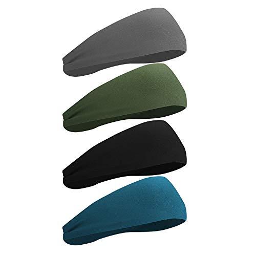 Sport Stirnband, rutschfestes Schweißband zum Joggen, Laufen, Wandern, Radfahren - Stirnbänder für Damen und Herren - 4er Pack
