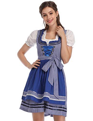 KOJOOIN Trachtenkleid Damen Dirndl - Midi Trachtenkleid Kleid für Oktoberfest - DREI Teilig: Kleid, Bluse, Schürze Königsblau 40/XL