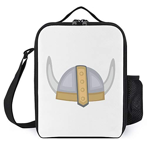 Lunch Box for Kids Lunch Bags with Bottle Holder for Women Men Viking Helmet Fashion Insulated Lunchbox Large Reusable Meal Prep Bag for Work School Picnic