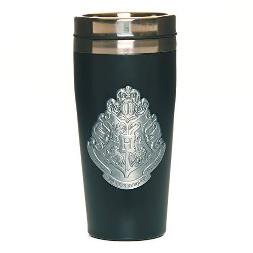 Paladone PP6723HP Hogwarts - Taza de viaje con insignia de metal | Fácil de limpiar reutilizable taza de café y té termo | aislamiento de doble pared de capacidad de 450 ml, acero inoxidable