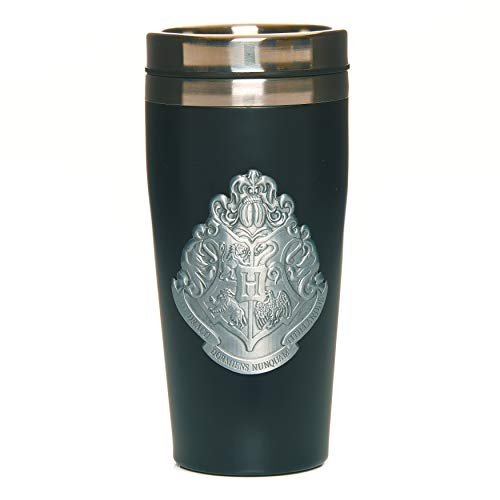 Paladone PP6723HP Hogwarts - Taza de viaje con placa de metal, facil de limpiar, reutilizable, para cafe y te, aislamiento de doble pared, 450 ml, acero inoxidable