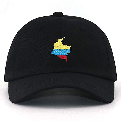VKGJMHD Unisex Mode Colombia Kaart Borduurwerk Baseball Cap 100% Katoen Verstelbare Papa Hoed Mannen Dames Caps Voor Zomer Lente