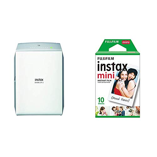 Fujifilm Instax Share SP-2 - Impresora para Smartphone, Plata + Instax Mini Brillo - Pack de 10 películas fotográficas instantáneas (1 x 10 Hojas), Color Blanco
