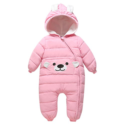 Bebone Bebone Baby Schneeanzug Jungen Strampler Mädchen Overall Winter Babykleidung (6-9 Monate/80, Rosa)