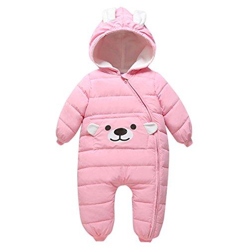 Bebone Baby Schneeanzug Jungen Strampler Mädchen Overall Winter Babykleidung (3-6 Monate/70, Rosa)