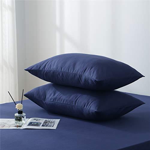 Aisbo, 2 fundas de almohada 100% microfibra cepillada, 50 x 80 cm, color azul