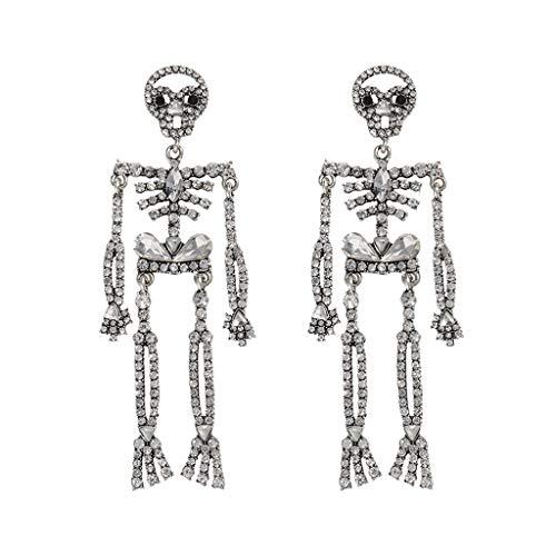 WEDFTGF 1 par de pendientes colgantes de aleación de cristal de diamantes de imitación esqueleto de calavera larga gota para mujer fiesta Cosplay joyería